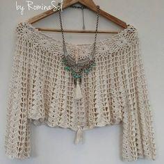 "La imagen puede contener: texto que dice ""FREE SPIRIT by Romina col"" Crochet Motifs, Crochet Cardigan, Crochet Lace, Crochet Patterns, Diy Crafts Crochet, Hippie Crochet, Crochet Summer Tops, Crochet Woman, Beautiful Crochet"