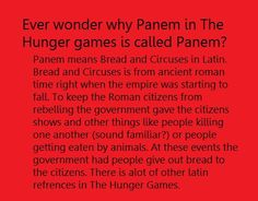 Why Panem is called Panem. I knew Suzanne Collins was smart but now, Wow!