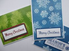 Christmas cards made with the versamark resist technique