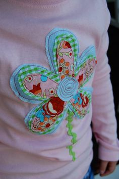 Shabby Chic Flower  Applique Girl's LS Tshirt by jillibdesigns