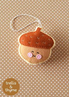 PDF Pattern - Little Acorn Pattern, Kawaii Felt Ornament Pattern, Felt Softie Sewing Pattern, Felt Toy Pattern: