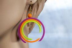 Fuchsia earrings, lime earrings, orange earrings, round earrings by ElviraKrick, via Etsy.