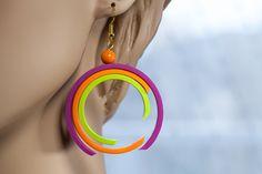 Fuchsia earrings, lime earrings, orange earrings, round earrings by ElviraKrick, via Etsy.