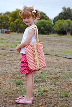 Ruffled tote bag---fun for library books, etc.