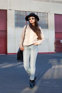 27 Inspiring Winter Style Snaps #refinery29  http://www.refinery29.com/what-to-wear-shopping#slide1  Name: Bebhinn Edmunds Gig: Vintage Buyer at Wasteland Hood: Outer Richmond What She's Wearing: Opening Ceremony boots, vintage Guess jeans and pullover, and Wasteland hat.