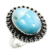 Pear Ring Stone of Atlantis/' Larimar Ring Gemstone Ring AC571 Sterling Silver Ring Size 6.75