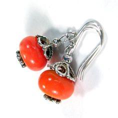 #Handmade Orange Lampwork Bead With Sterling Silver Dangle Earrings by #Covergirlbeads on #artfire