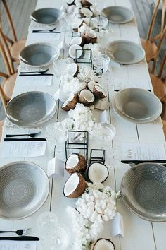 Beach wedding table and tablescape inspiration with coconut, coral and black, grey and white styling details to inspire a minimal, tropical wedding wedding decorations Modern Island Dreaming Tropical Wedding Ideas Beach Wedding Reception, Waterfront Wedding, Beach Wedding Decorations, Wedding Table Centerpieces, Wedding Rustic, Reception Ideas, Wedding Themes, Modern Centerpieces, Centerpiece Ideas