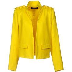Alexandre Vauthier Blazer (73,460 DOP) ❤ liked on Polyvore featuring outerwear, jackets, blazers, yellow, lapel jacket, long sleeve blazer, multi pocket jacket, yellow blazer jacket and long sleeve jacket