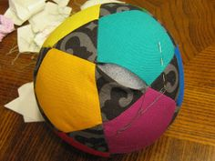 The Quilting Mill: Home Again, Home Again  Beautiful ball using fabric pieces