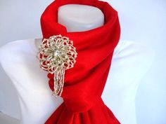 Red Pashmina Scarf Shawl Neckwarmer With Grey Beads by bytugce, $32.90