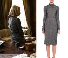 Madam Secretary: Season 2 Episode 9 Elizabeth's Grey Tweed High Neck Dress