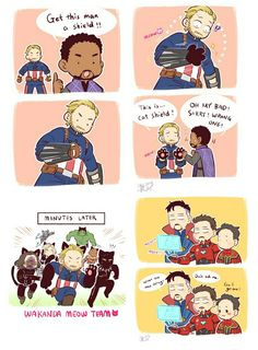 Get this man a shield!!! || Infinity war || Avengers 3 || Black Panther Captain America Bucky Black Widow Iron Man Dr Strange Hulk Spider Man || Cr: 澈(Che