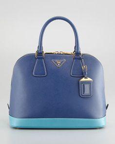 Prada Saffiano Bicolor Dome Bag Blue Turquoise Prada
