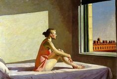 "Edward Hopper (1882-1967) was a prominent American realist painter and printmaker. While he was most popularly known for his oil paintings, he was equally proficient as a watercolorist and printmaker in etching. Both in his urban and rural scenes, his spare and finely calculated renderings reflected his personal vision of modern American life. (Wikipedia) (""Morning Sunshine"" by Edward Hopper)"
