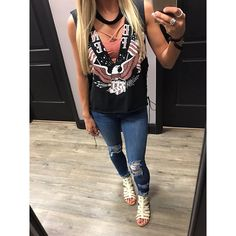 Just arrived!!  Graphic tees!!  Many styles with lace up or choker necks! #apricotlaneaugusta #augustamall #graphictees #freedom
