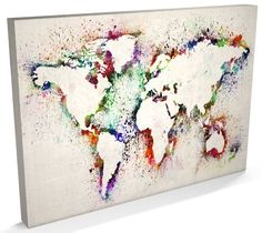 Map of the World Map Abstract Painting, CANVAS Art A3 to A1 - v778