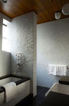 White tile + wood ceiling