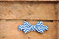 The Bryan  / Chevron Pattern Baby Bowtie / Blue by SouthernSweetCo, $21.00