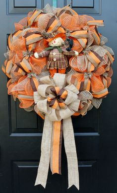 """Fall Deco Mesh Wreath with Poly/Burlap and Orange Mesh.  Accented with Orange/ Brown/ Natural Ribbon and Bow.  Approx. 27"""" across. on Etsy, $65.00"""