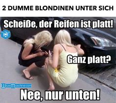 Dumme Blondinen mit plattem Reifen - Autopanne - Blondinenwitze - Witzig
