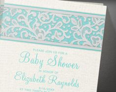 Teal Rustic Country Burlap Linen Baby Shower Invitation