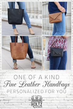 These beautiful handbags are handmade of fine leather. They are available in brown, tan or black leather, and can be personalized with your name or initials. You'll be the envy of all your friends when you walk in carrying a unique bag by Holtz Leather.