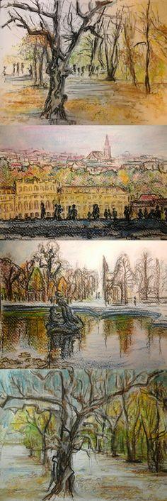 Skizzen vom Park in Schönbrunn, Wien / Sketches of the park at Schoenbrunn, Vienna - Art in progress