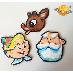 Rudolph, Hermie, and Santa perler beads by pixel_planet_ Also Hewey, Louie & Dewey Duck Hama Beads, Perler Bead Art, Fuse Beads, Pearler Bead Patterns, Perler Patterns, Christmas Perler Beads, Movie Crafts, Beading For Kids, Perler Bead Templates