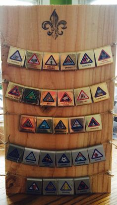 Cub Scout belt loop display. Cub Scouts Wolf, Tiger Scouts, Cub Scout Crafts, Cub Scout Activities, Cub Scout Patches, Boy Scout Badges, Scout Mom, Girl Scouts, Eagle Scout Ceremony