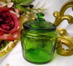 Deep green Depression Glass cookie jar.