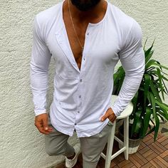 Casual Simple Pure Colour Single-Breasted T-Shirt - yatacity Cool Sweaters, Latest Fashion Clothes, Swagg, Types Of Sleeves, Casual Shirts, Long Sleeve Shirts, Street Wear, Men Casual, Casual Tops
