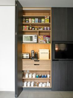 the modern kitchen cabinet designs the large contemporary kitchen of … – Own Kitchen Pantry Kitchen Pantry Design, Kitchen Pantry Cabinets, Kitchen Tops, Home Decor Kitchen, New Kitchen, Kitchen Storage, Hidden Kitchen, Kitchen Decorations, Pantry Storage