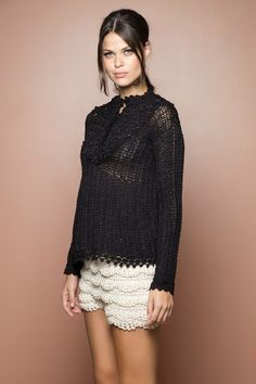 US$ 1,475.00 - Black Annecy Crochet Top - Vanessa Montoro USA - vanessamontorolojausa