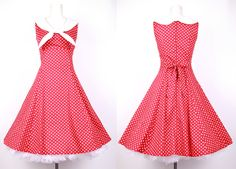 1940s 50s Sailor Dress Red with White Dots