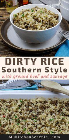 Dirty Rice Recipe With Sausage, Dirty Rice Recipe With Ground Beef, Ground Beef Sausage Recipe, Cajun Dirty Rice Recipe, Sausage And Rice Casserole, Sausage Rice, Beef And Rice, Ground Beef Recipes, Dirty Brown Rice Recipe