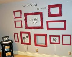 empty frames, including a recessed box, with a great quote make for a unique wall decoration