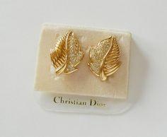 Christian Dior Leaf Clip On Earrings Vintage by RockArtemisVintage