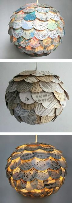 Lanterns out of repurposed maps, book pages, or music sheets. The music sheets are my favorite  www.crystalcook.myitworks.com