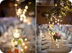 We love this rustic glam elegant wedding decorations with hanging votive tea lights and candles