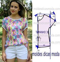Tenha em atenção que o desenho do molde de blusa florida lilás não tem valor de costura tem que ser acrescentado. Apenas os moldes que são para imprimir têm valor de costura. Analise de forma detalhad