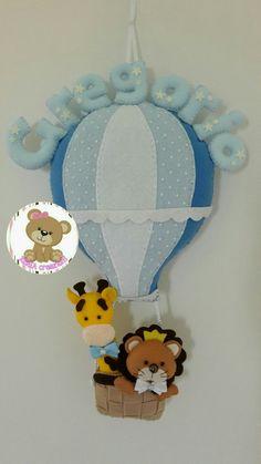 Fiocco nascita mongolfiera, giraffa e leone personalizzabile