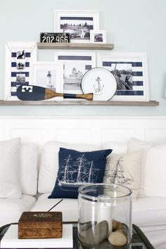 Summer Home Tour 2016 With Birch Lane and Country Living - The Wicker House Cottage Living, Coastal Living, Home And Living, Living Room, Living Spaces, Birch Lane, Deco Marine, French Country Farmhouse, Coastal Farmhouse