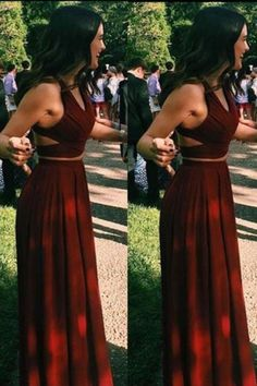 Wine Red Prom Dress, Two Pieces Prom Dresses, Long Prom Gowns,Sexy Evening Gowns, Chiffon Prom Dresses, Burgundy Prom Dress 2017,Halter Prom Dress,Prom Dresses