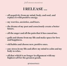 Full Moon Mantras from on IG : Psychic Spiritual Manifestation, Manifestation Journal, Spiritual Awakening, Reiki, Positive Affirmations Quotes, Affirmation Quotes, Healing Affirmations, Positive Mantras, Morning Affirmations