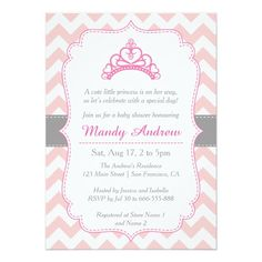 A cute little princess is on the way, celebrate with a special day for mommy to be before the arrival of her baby girl. Start with inviting the guests with this elegant, classy and chic princess baby shower invitation. The princess tiara is designed with heart shapes in place and fitted with little pieces of jewel. The background is that of a sweet pink and white chevron pattern. An invitation fitting for royalty!