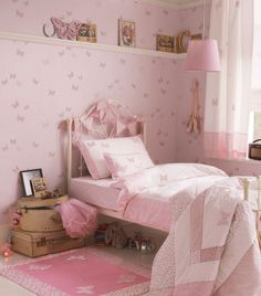 Dream girls room with Laura Ashley Bella Butterfly Wallpaper/Fabric