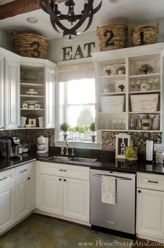 Kitchen Wall Decor Ideas Above Cabinets.Floor To Ceiling Kitchen Cabinets Design Ideas. Storage Ideas For Kitchens Without Upper Cabinets . Shiplap Wood Paneling In A Classic English Kitchen Remodel. Home and Family Decorating Above Kitchen Cabinets, Above Cabinets, Kitchen Redo, New Kitchen, Kitchen Remodel, Kitchen Dining, Kitchen Backsplash, Kitchen Ideas, Open Cabinet Kitchen
