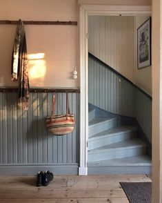 Entryway Stairs, Staircase Railings, Staircases, Moldings And Trim, Moulding, Manor Farm, Red Cottage, Swedish House, Scandinavian Interior