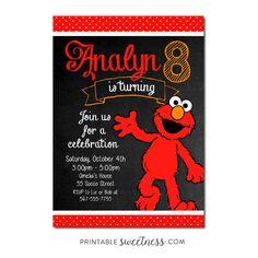 Sesame Street Birthday Party Invitation – Custom Personalized Printable Elmo | Printable Sweetness